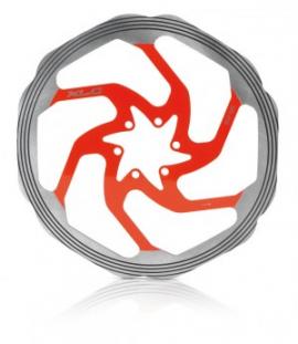 Brzdový kotúč XLC BR-X58, strieborná/červená, CNC trecí krúžok, 180 mm