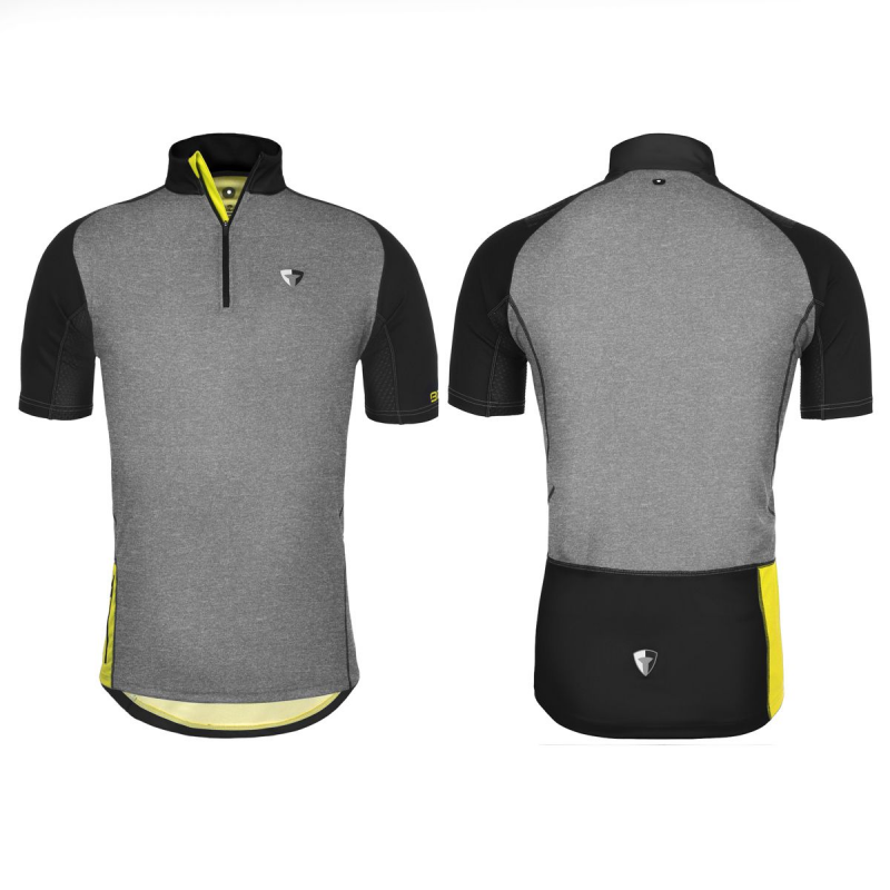 MTB dres BRIKO SENTIERO MTB JERSEY MAN, light grey/melange/black/yellow fluoro