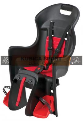 Detská sedačka POLISPORT BOODIE, 3 bodová, na nosič, čierna/červená