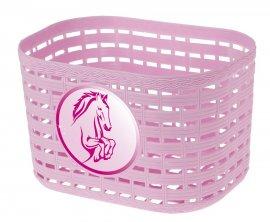Košík plastový na riadidlá, detský, ružový