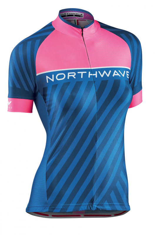 Dres NORTHWAVE Logo Woman 3, SS, pink fluo/blue