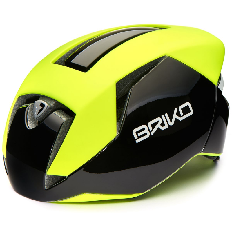 Prilba BRIKO GASS, yellow fluo-black-white