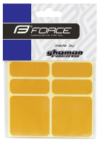 Nálepky FORCE SHAMANRACING, reflexné, žlté, 6KS