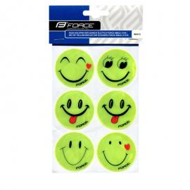 Nálepky FORCE SMILE, 6 ks reflexná, žltá
