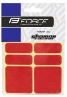 Nálepky FORCE SHAMANRACING, reflexné, červené, 6KS
