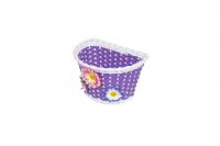 Košík na riadidlá , detský plastový, fialový, biely okraj