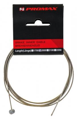 Brzdové lanko PROMAX, slick, nerez, 2000x1,5 mm, blister